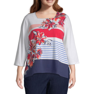 In the Navy Alfred Dunner Stripe Flowers Top - Plus