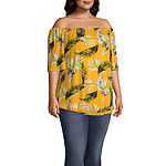 Lone Lux- Womens Off The Shoulder Elbow Sleeve Top - Plus