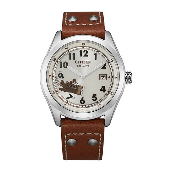 Citizen Mickey Aviator Mickey Mouse Mens Brown Leather Strap Watch-Bv1088-08w