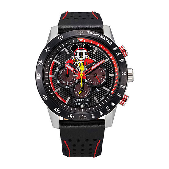 Citizen Mickey Racer Mickey Mouse Mens Chronograph Black Leather Strap Watch-Ca4439-07w