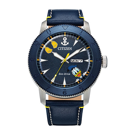 Citizen Donald Duck Mickey and Friends Mens Blue Leather Strap Watch-Aw0075-06w