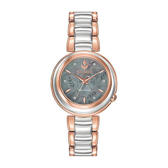 Citizen Anna Diamond Frozen Womens Two Tone Stainless Steel Bracelet Watch - Em0586-51y