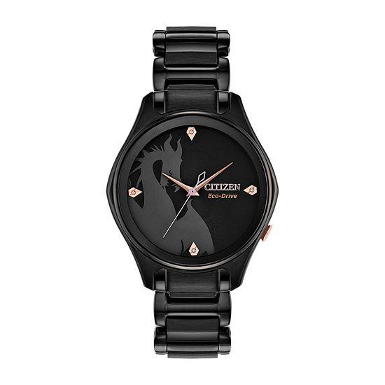 Citizen Diamond Maleficent Womens Black Stainless Steel Bracelet Watch - Em0595-51w