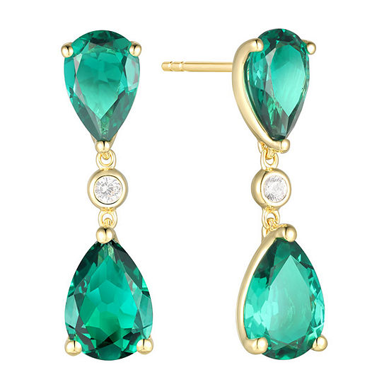Lab Created Green Emerald 14K Gold Over Silver Pear Drop Earrings