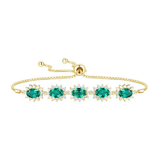 Lab Created Green Emerald 14K Gold Over Silver Bolo Bracelet