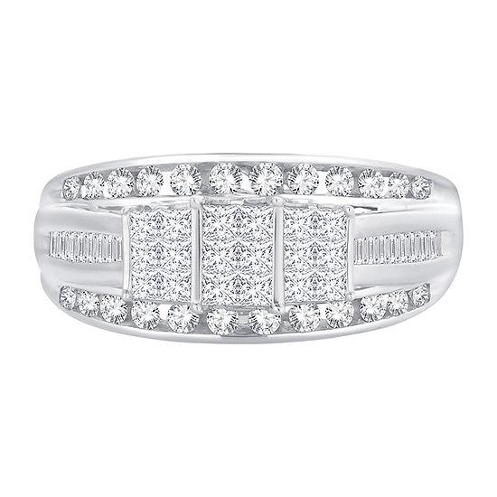 Womens 1 CT. T.W. Genuine White Diamond 10K White Gold Rectangular Engagement Ring