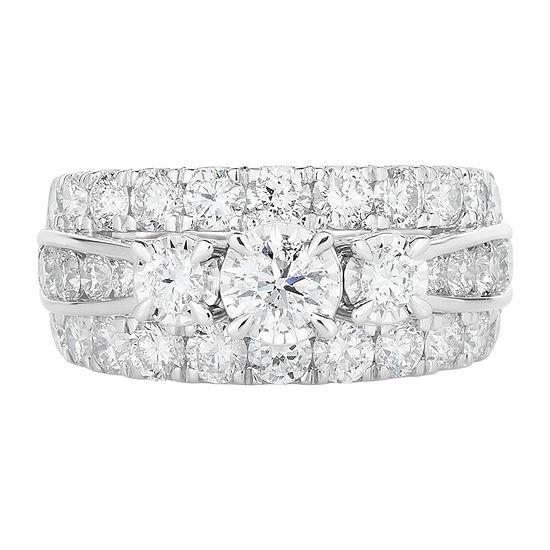 Womens 3 CT. T.W. Genuine White Diamond 10K White Gold Round 3-Stone Engagement Ring