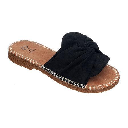 GC Shoes Womens Rodney Flat Sandals, 10 Medium, Black