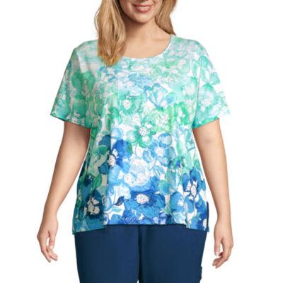 Alfred Dunner Island Hopping Womens Plus Round Neck Short Sleeve T-Shirt