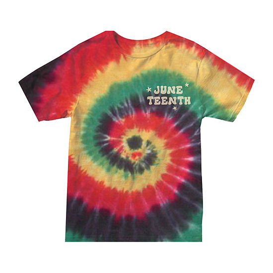 Juniors Plus Juneteenth Tie Dye Womens Crew Neck Short Sleeve Graphic T-Shirt