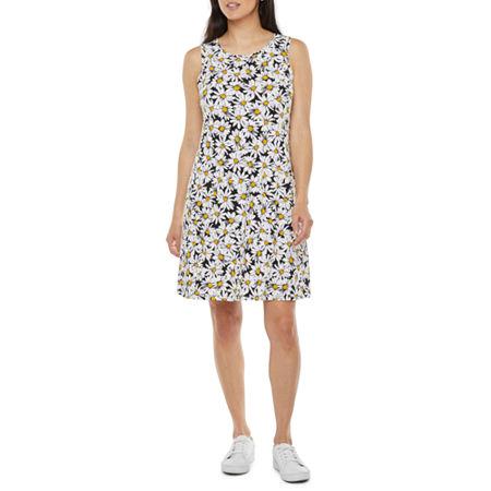 60s Dresses   1960s Dresses Mod, Mini, Hippie Ronni Nicole Sleeveless Floral Puff Print Shift Dress Medium  White $27.74 AT vintagedancer.com
