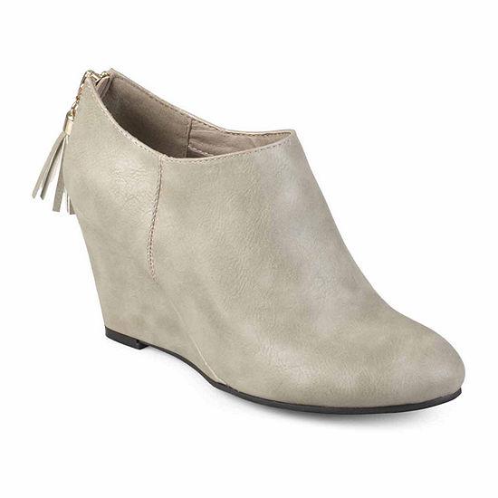 Journee Collection Womens Colins Booties Wedge Heel Zip