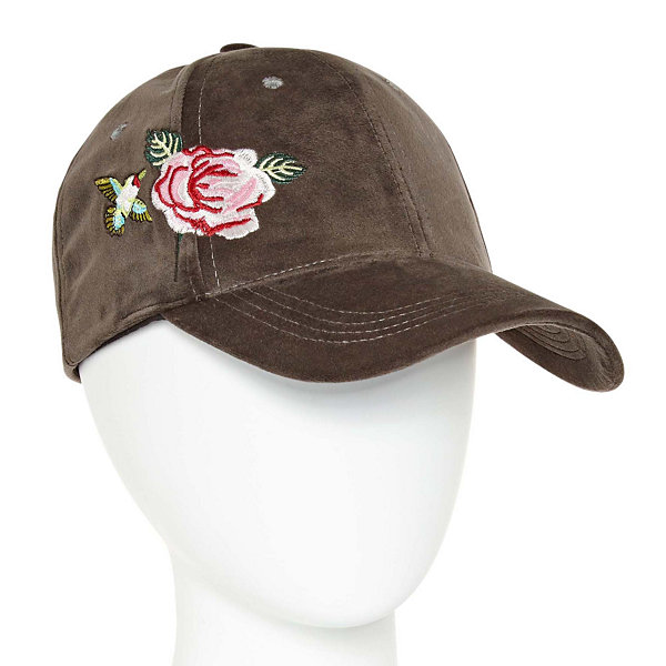 Mixit Floral Velvet Embroidered Baseball Cap