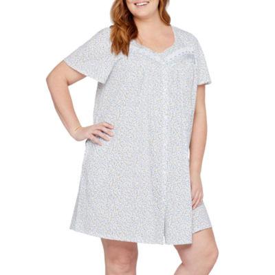 Adonna Jersey Short Sleeve Pattern Nightgown-Plus