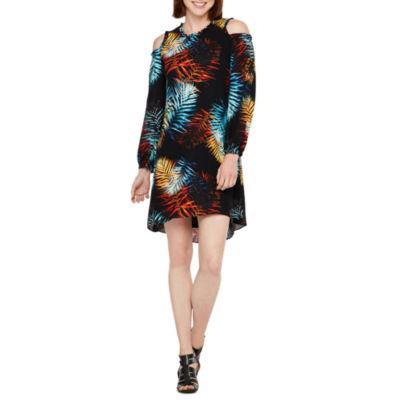 WorthingtonLong Sleeve Cold ShoulderShift Dress