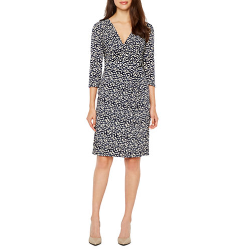 Jessica Howard 3/4 Sleeve Leaf Print Sheath Dress