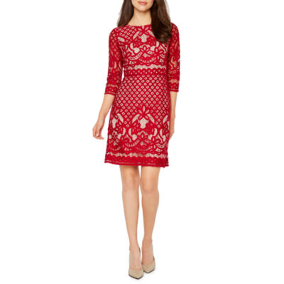 Danny & Nicole 3/4 Sleeve Lace A-Line Dress