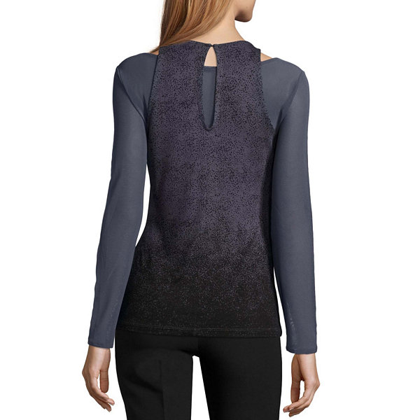 Worthington Long Sleeve Scoop Neck Knit Geometric Blouse