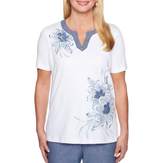 Alfred Dunner Blues Traveler Short Sleeve Split Crew Neck Floral T-Shirt-Womens