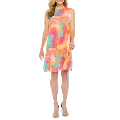 Robbie Bee Sleeveless Abstract Swing Dresses
