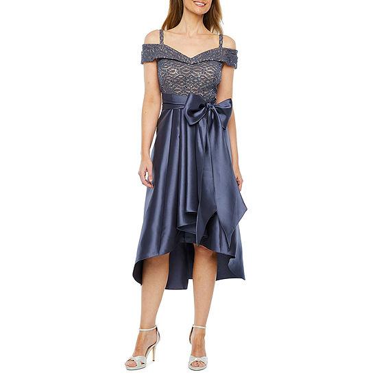 R & M Richards Short Sleeve Cold Shoulder Fit & Flare Dress