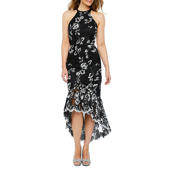 Blu Sage Sleeveless Embroidered High Low Evening Gown