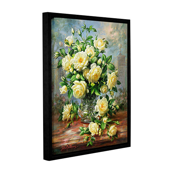 Brushstone Princess Diana Roses in a Cut Glass Vase Gallery Wrapped Floater-Framed Canvas Wall Art