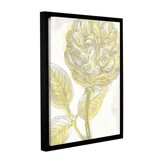 Brushstone Belle Fleur Yellow Iii Crop Gallery Wrapped Floater Framed Canvas Wall Art