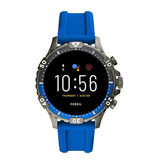 Fossil Smartwatches Gen 5 Garrett Hr Mens Multi-Function Blue Smart Watch-Ftw4042