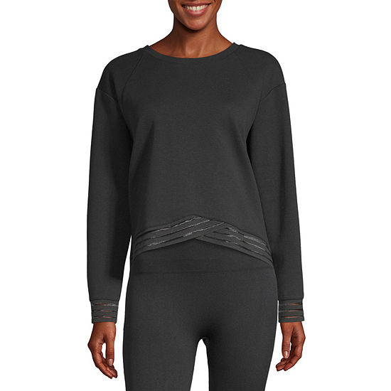 Xersion Petite Womens Crew Neck Long Sleeve Sweatshirt