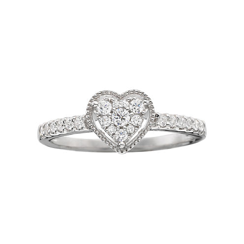 1/4 CT. T.W. Diamond Heart-Shaped Promise Ring
