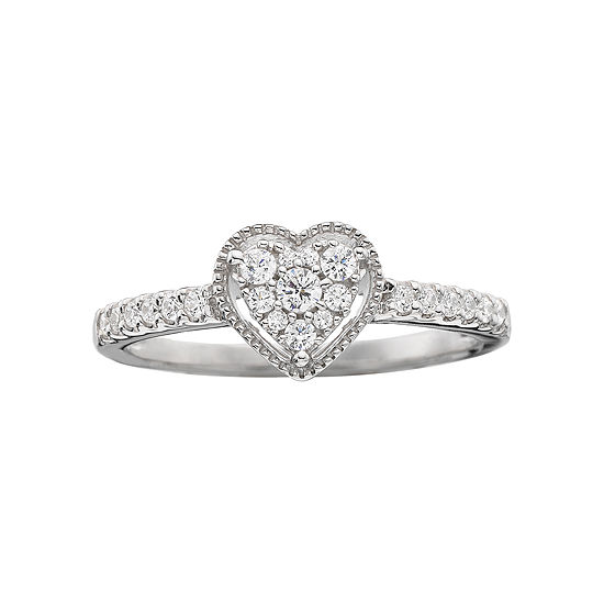 1 4 Ct Tw Diamond Heart Shaped Promise Ring