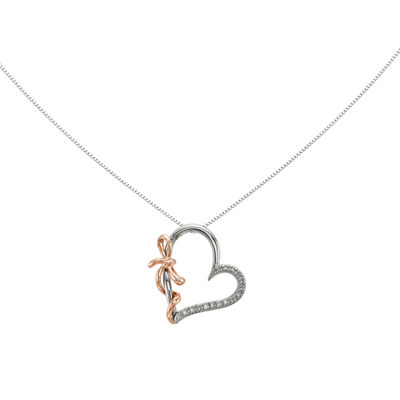 14K White Gold Diamond Accent Heart Pendant