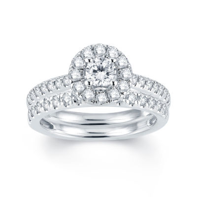 Modern Bride® Signature 1 CT T.W. Diamond Halo14K White Gold Engagement Ring