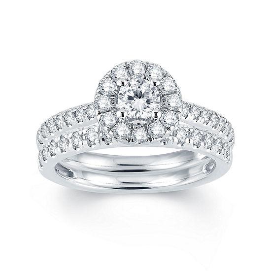 Modern Bride® Signature 1 CT T.W. Diamond Halo14K White Gold Engagement Ring