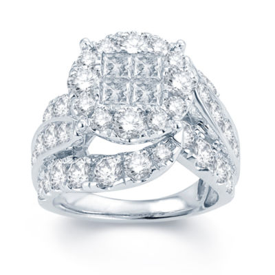 5 CT. T.W. Diamond  Halo 14K White Gold Engagement Ring