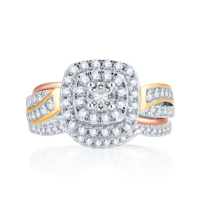 1 CT. T.W. Diamond 14K Tri-Color Gold Engagement Ring