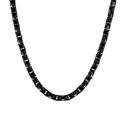 """Mens Black Stainless Steel 24"""" Byzantine Chain Necklace"""