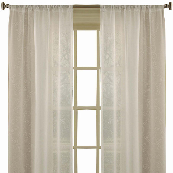 Laura Ashley® Frosting Rod-Pocket 2-Pack Sheer Curtain Panels