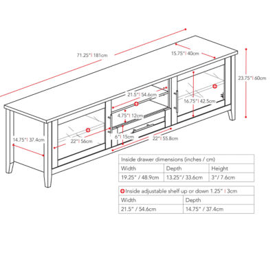 "Jackson 71"" Wide TV Bench"