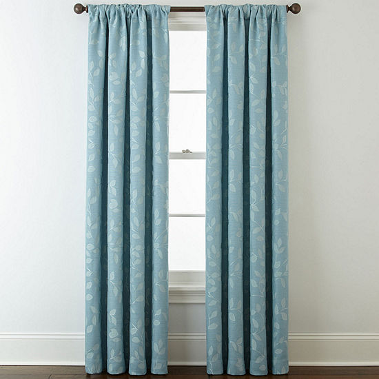Liz Claiborne Quinn Leaf Energy Saving Light-Filtering Back-Tab Single Curtain Panel