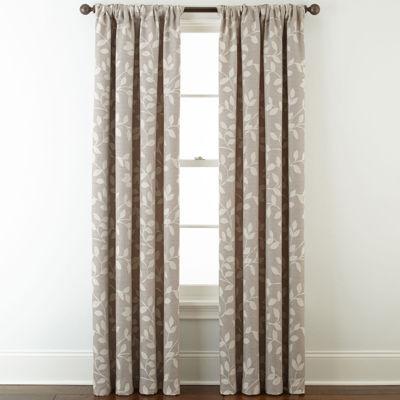 Liz Claiborne Quinn Leaf Energy Saving Light-Filtering Back-Tab Single Curtain Panel