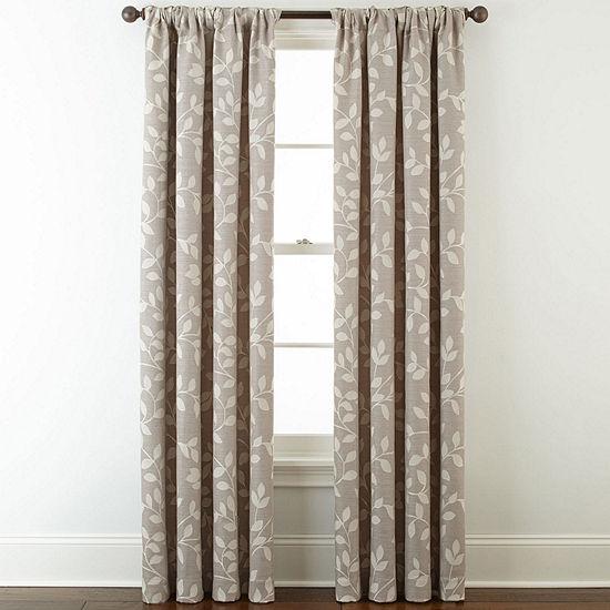 Liz Claiborne Quinn Leaf Room-Darkening Rod Pocket/ Back Tab Single Curtain Panel