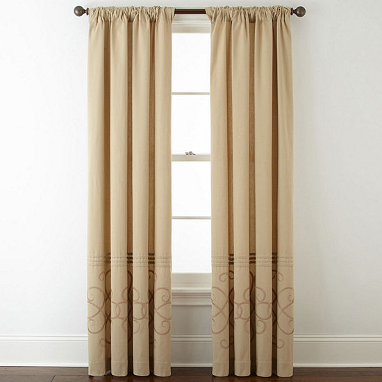 JCPenney Home™ Patten Embroidery Lined Back-Tab Embroidered Window Panels