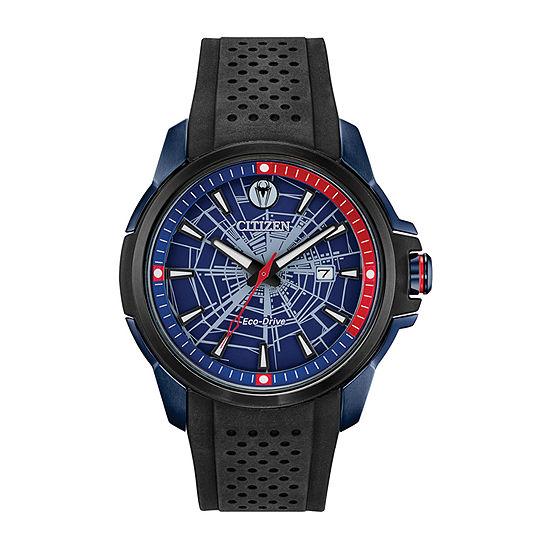 Citizen Marvel Spiderman Mens Black Strap Watch-Aw1156-01w