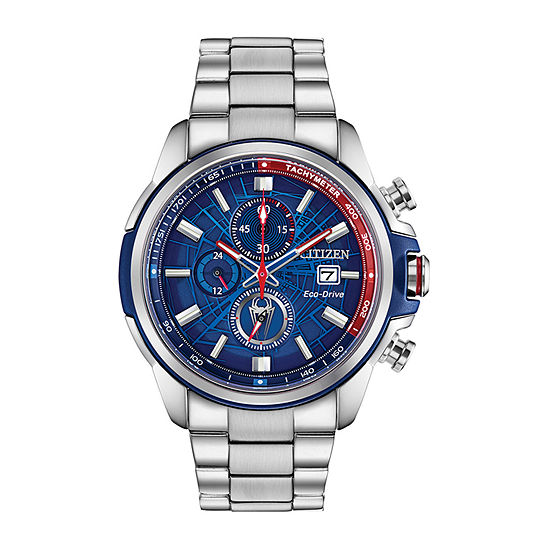 Citizen Marvel Marvel Mens Chronograph Silver Tone Stainless Steel Bracelet Watch - Ca0429-53w