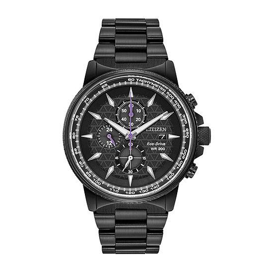 Citizen Marvel Marvel Mens Chronograph Black Stainless Steel Bracelet Watch - Ca0297-52w