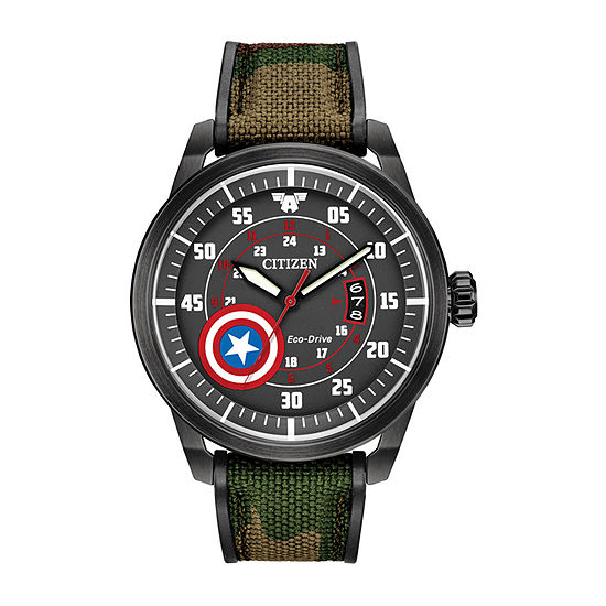 Citizen Marvel Captain America Mens Green Strap Watch-Aw1367-05w