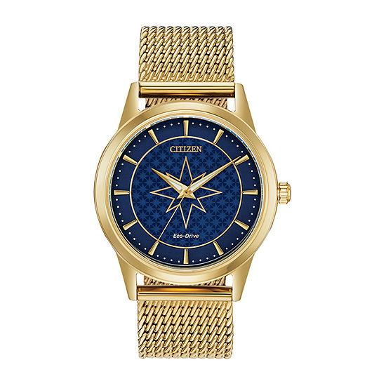 Citizen Captain Marvel Womens Gold Tone Stainless Steel Bracelet Watch-Fe7062-51w