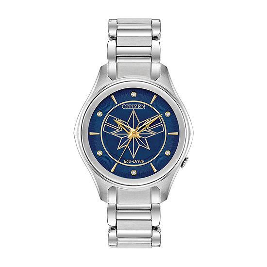Citizen Captain Marvel Womens Silver Tone Bracelet Watch-Em0596-58w